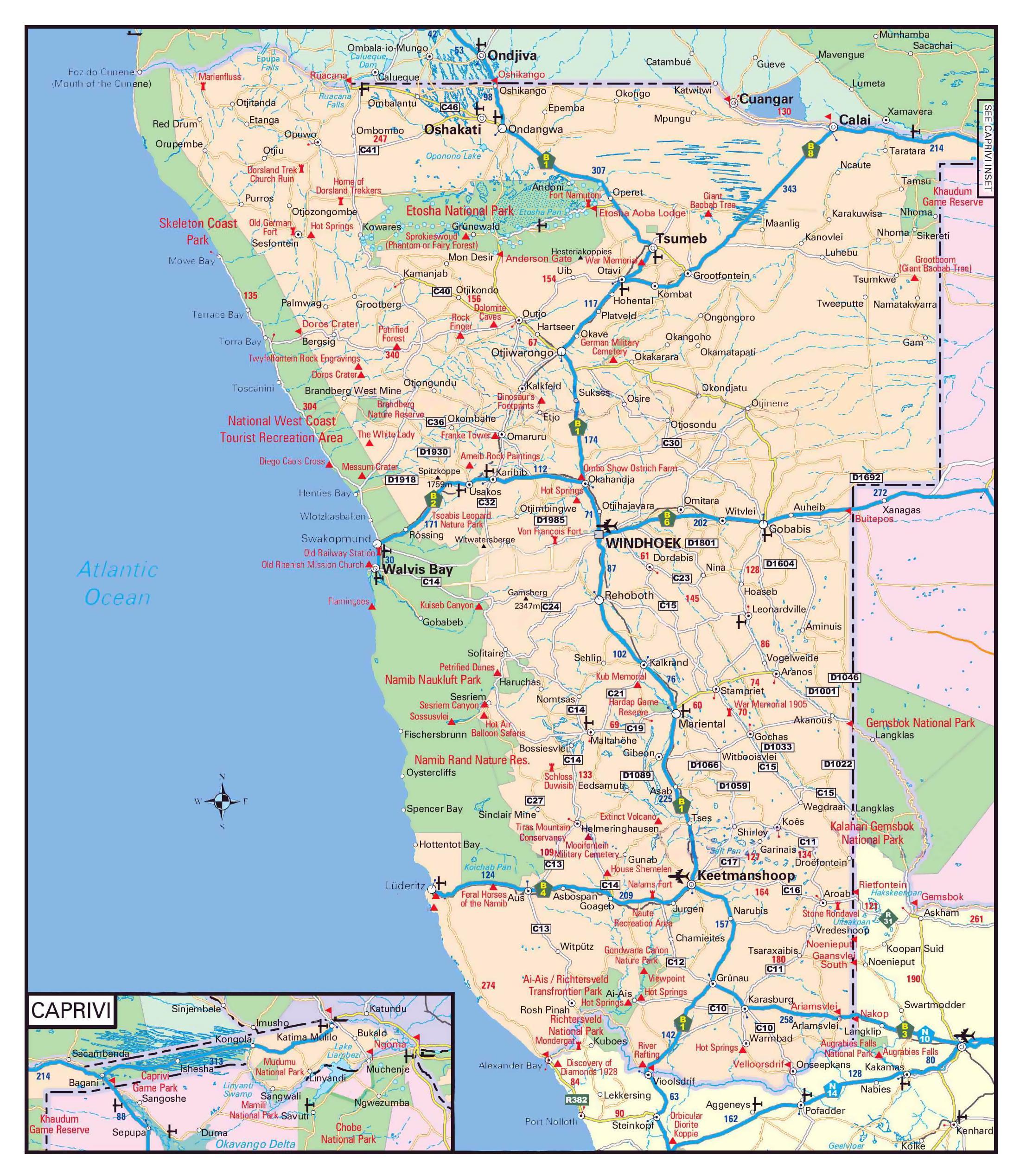 Namibian Road Map Namibian Tiet Kartta Etela Afrikka Afrikka