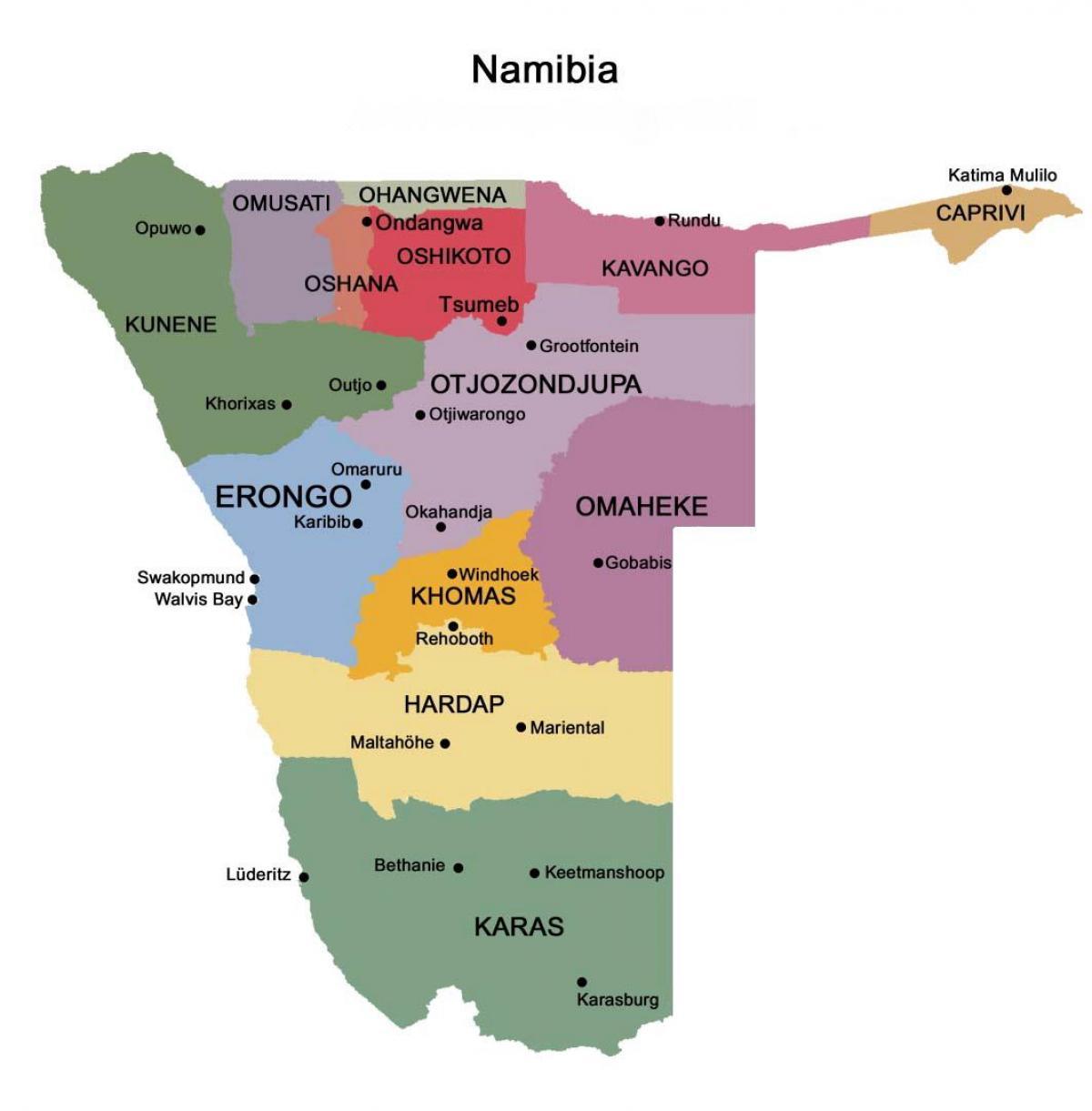 Namibia Kartta Alueiden Kartta Namibian Kanssa Alueiden Etela