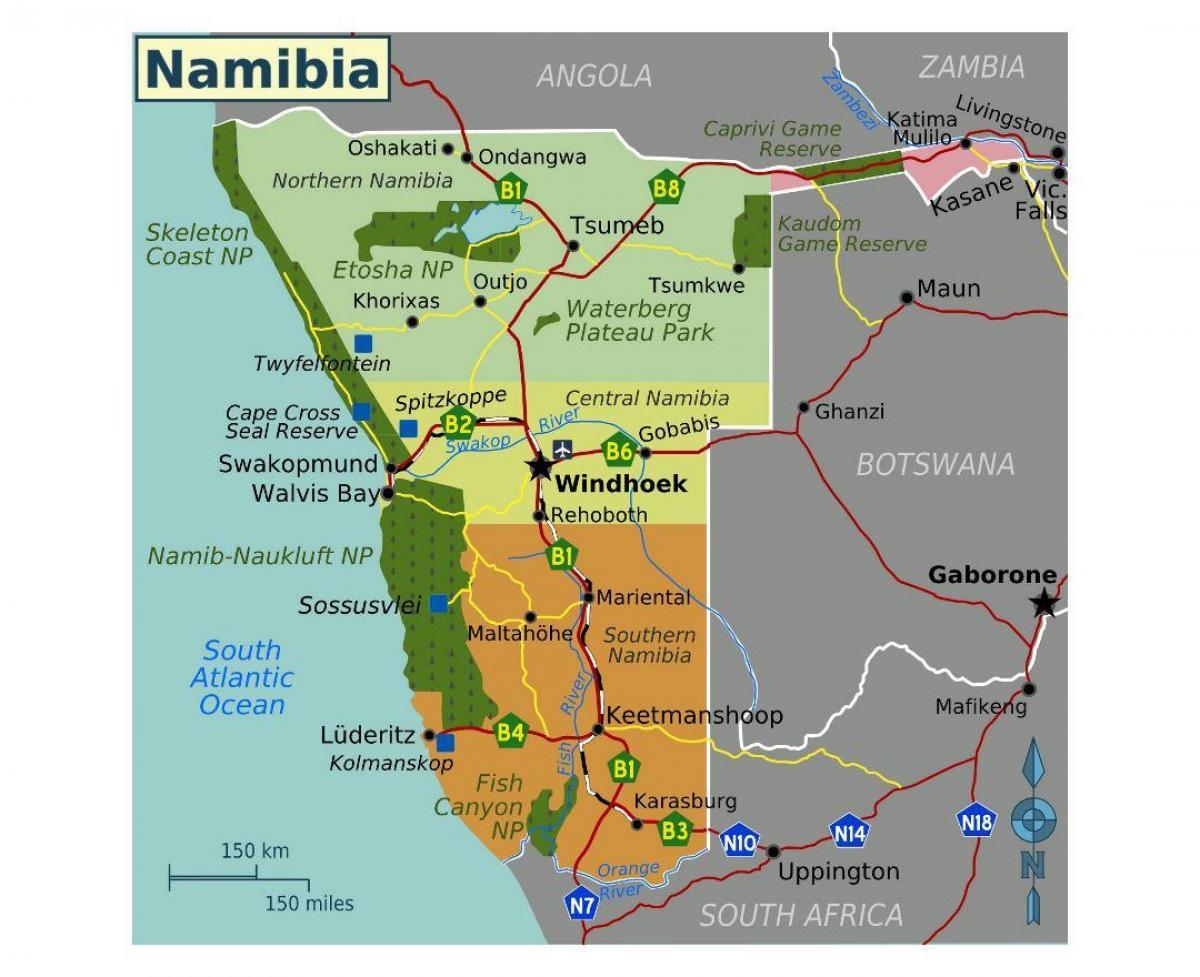 Namibia Kartta Kartta Namibia Etela Afrikka Afrikka